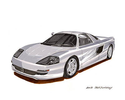Automotive Art Series Wall Art - Painting - 1991 Mercedes Benz C 112 Concept by Jack Pumphrey