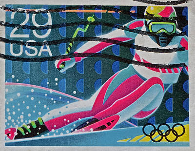 Photograph - 1992 Downhill Racer Stamp by Bill Owen