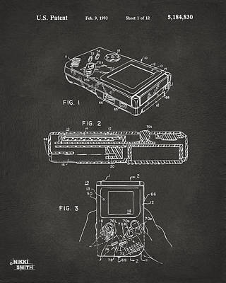 Electronics Digital Art - 1993 Nintendo Game Boy Patent Artwork - Gray by Nikki Marie Smith