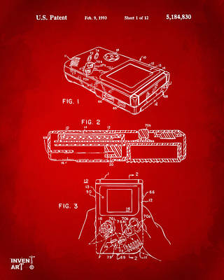 Digital Art - 1993 Nintendo Game Boy Patent Artwork Red by Nikki Marie Smith