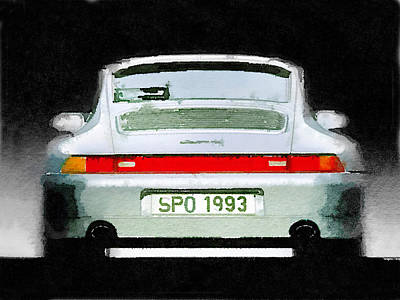 Classic Cars Wall Art - Painting - 1993 Porsche 911 Rear Watercolor by Naxart Studio
