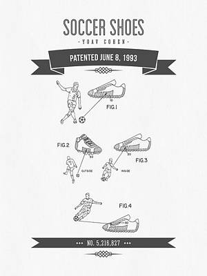 Football Royalty-Free and Rights-Managed Images - 1993 Soccer Shoes Patent Drawing - Retro Gray by Aged Pixel