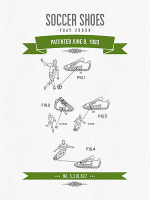 Football Royalty-Free and Rights-Managed Images - 1993 Soccer Shoes Patent Drawing - Retro Green by Aged Pixel
