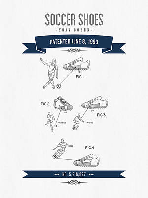 Football Royalty-Free and Rights-Managed Images - 1993 Soccer Shoes Patent Drawing - Retro Navy Blue by Aged Pixel