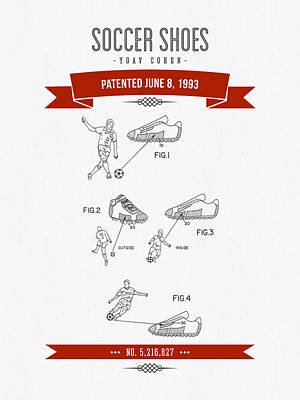 Football Royalty-Free and Rights-Managed Images - 1993 Soccer Shoes Patent Drawing - Retro Red by Aged Pixel