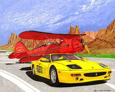 Painting - 1995 Ferrari F512m And 1935 Waco by Jack Pumphrey