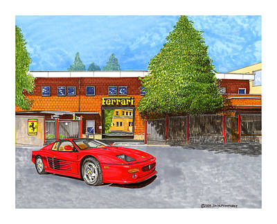Painting - 1995 Ferrari 512m Factory Delivey by Jack Pumphrey