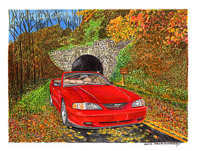 Ford Mustang Painting - 1996 Ford Mustang Gt In Fall Colors by Jack Pumphrey