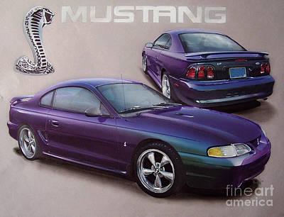 Reptiles Drawings - 1996 Mystic Mustang by Paul Kuras