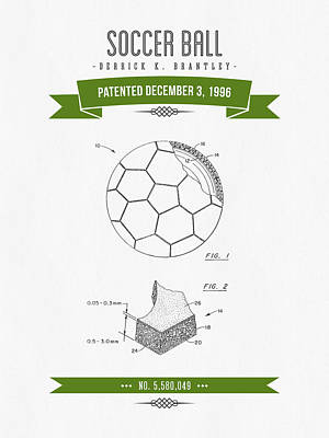 Football Royalty-Free and Rights-Managed Images - 1996 Soccer Ball Patent Drawing - Retro Green by Aged Pixel