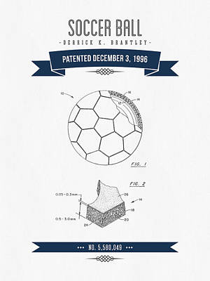 Abstract Graphics - 1996 Soccer Ball Patent Drawing - Retro Navy Blue by Aged Pixel