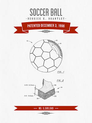Football Royalty-Free and Rights-Managed Images - 1996 Soccer Ball Patent Drawing - Retro Red by Aged Pixel