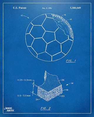 Sports Digital Art - 1996 Soccerball Patent Artwork - Blueprint by Nikki Marie Smith