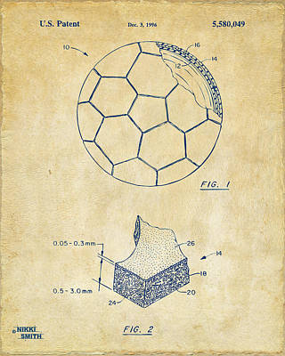 Sports Digital Art - 1996 Soccerball Patent Artwork - Vintage by Nikki Marie Smith
