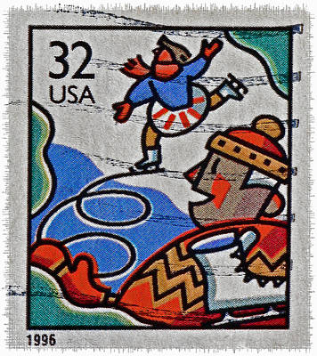 Photograph - 1996 Winter Skaters Stamp by Bill Owen