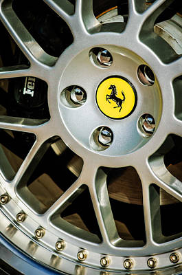 Photograph - 1997 Ferrari F 355 Spider Wheel Emblem -125c by Jill Reger