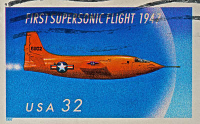 Photograph - 1997 First Supersonic Flight Stamp by Bill Owen