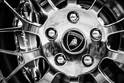 Art Print featuring the photograph 1997 Lamborghini Diablo Roadster  Wheel Emblem -1303bw by Jill Reger