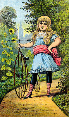 Tricycle Painting - 19th C. Girl And Her Tricycle by Historic Image