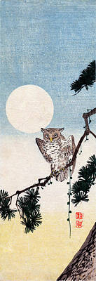 Painting - 19th C. Japanese Owl At Night by Historic Image
