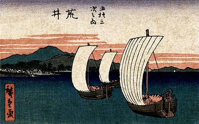 Painting - 19th C. Japanese Ships On Lake Hamana by Historic Image