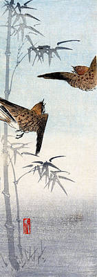 19th C. Japanese Sparrows Art Print