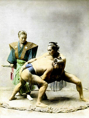 Photograph - 19th C. Japanese Wrestlers by Historic Image