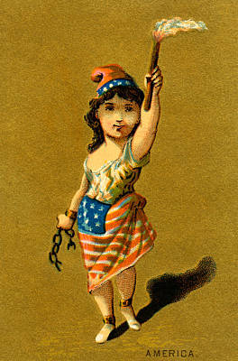4th Of July Painting - 19th C. Lady Liberty  by Historic Image