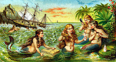 Ship Wreck Painting - 19th C. Mermaids At Ship Wreck by Historic Image