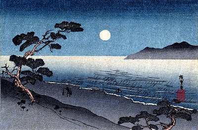 Painting - 19th C. Moonlit Japanese Beach by Historic Image