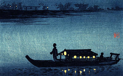 Painting - 19th C. Moonlit Japanese Riverboat by Historic Image