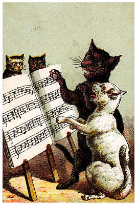 Painting - 19th C. Quartet Of Singing Cats by Historic Image