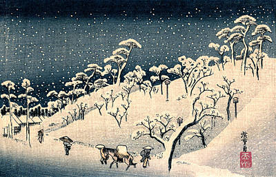 Painting - 19th C. Snow On Asuka Hill by Historic Image