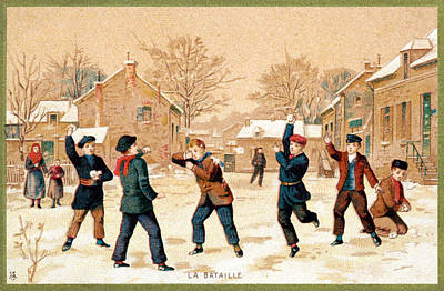 Snowball Fight Painting - 19th C. Snowball Fight by Historic Image