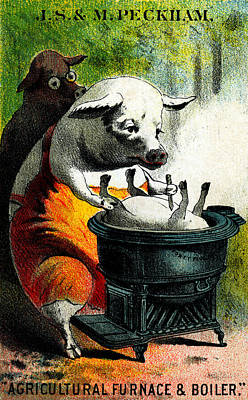 Painting - 19th C. The Cannibal Pigs by Historic Image