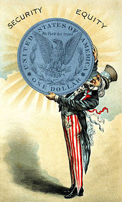 Painting - 19th C. Uncle Sam Likes Silver by Historic Image