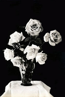 Photograph - 19th C. Vase Of Roses  by Historic Image