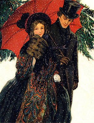 19th C. Young Couple In Winter Art Print by Historic Image