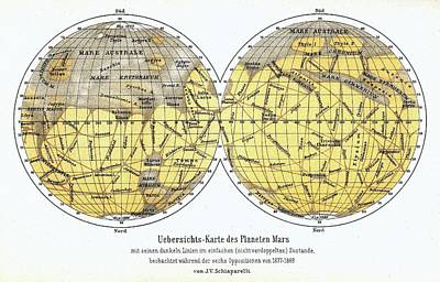 19th Century Map Of Mars Art Print by Detlev Van Ravenswaay