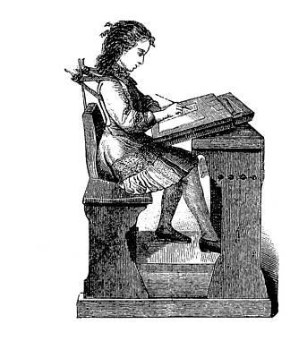 19th Century School Desk Back Support Print by Bildagentur-online/tschanz
