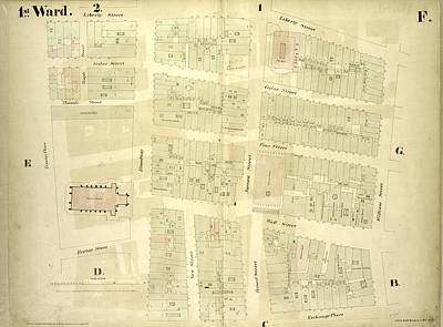 Liberty Place Drawing - 1st Ward. Plate F Map Bounded By Liberty Street, William by Litz Collection