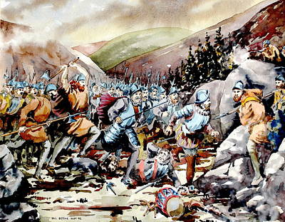 Painting -  Battle Of Glenmalure  1580  Wicklow by Val Byrne