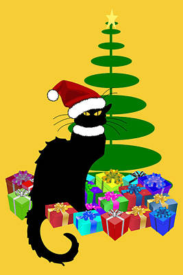 Chatting Mixed Media -  Christmas Le Chat Noir With Santa Hat by Gravityx9   Designs