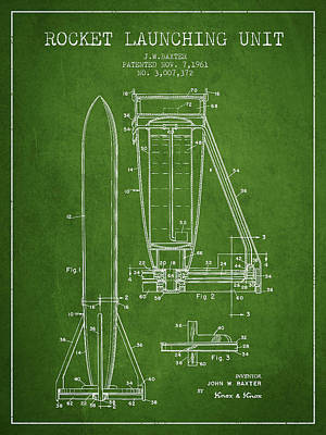 Spaceflight Digital Art -  Rocket Launching Unit Patent From 1961 by Aged Pixel