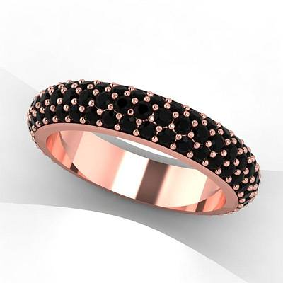 18k Jewelry - 14k Rose Gold Black Diamond Eternity Band by Eternity Collection