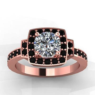 Morganite Jewelry - 14k Rose Gold Black Diamond Ring With Moissanite Center Stone by Eternity Collection