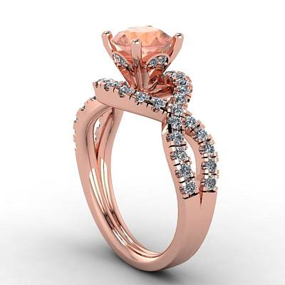 Cubic Zirconia Jewelry - 14k Rose Gold Diamond Ring With Morganite Center Stone by Eternity Collection