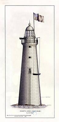 Lighthouses Drawing - 1852 Minot's Ledge Lighthouse by Jon Neidert