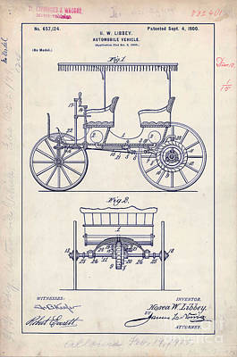 Old Car Drawing - 1900 Automobile Patent Drawing by Jon Neidert