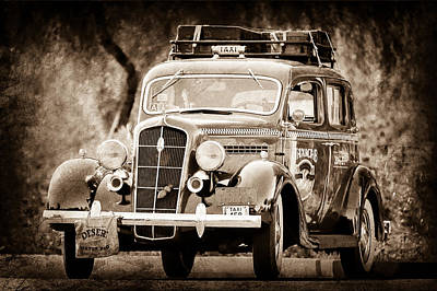 Vintage Taxi Cabs Photograph - 1935 Plymouth Taxi Cab by Jill Reger